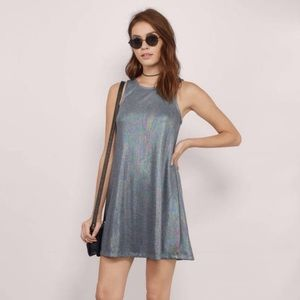 TOBI silver holographic mini dress